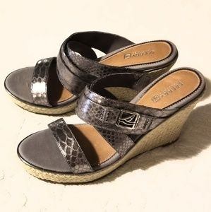 NWOT Sperry Silver Taupe Wedgies sz 9